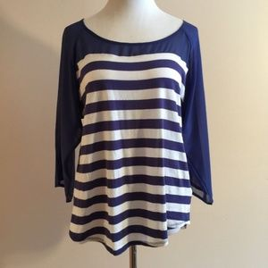 Striped Top M Sheer 3/4 Sleeve Bow Detail Blue